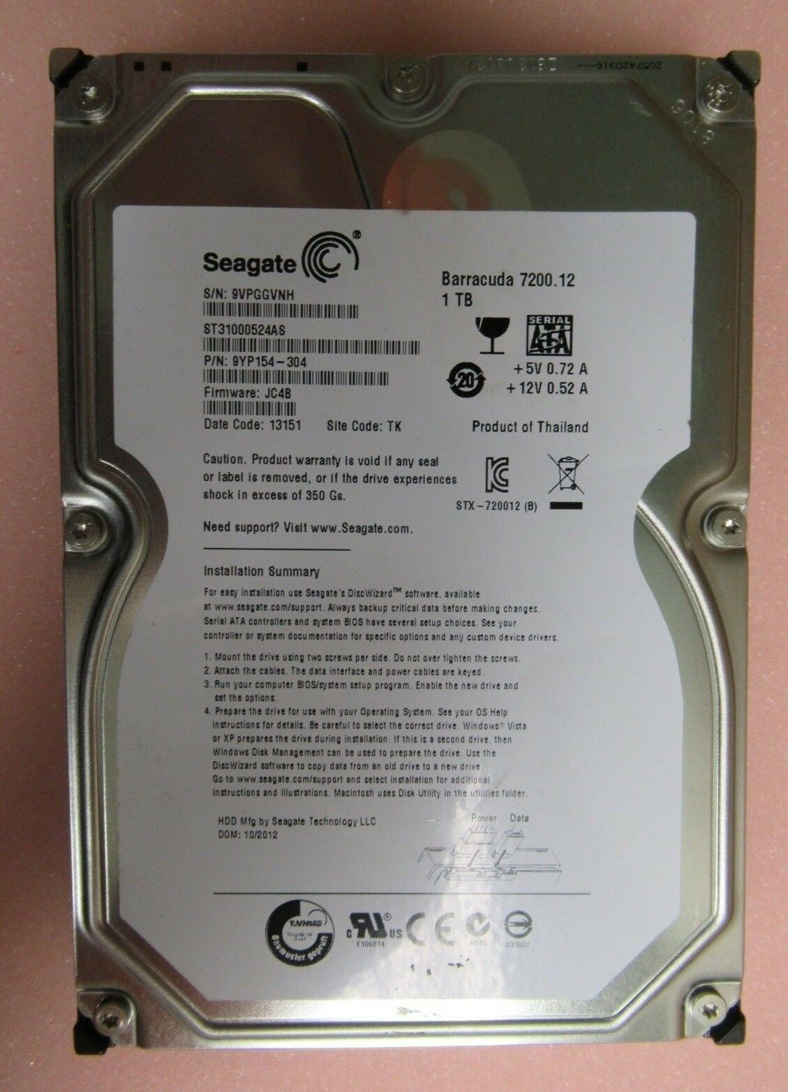 Seagate Barracuda 1TB 3 5